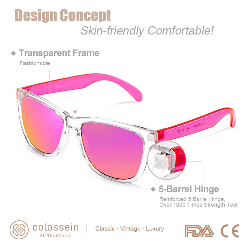 COLOSSEIN Pink Gradient Sunglasses Men Fashion Accessories Sunglasses Women Mirror Sun Glasses For Christmas Holiday Gift