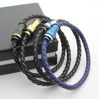 Męska Leather Rope Bransoletka czarny niebieski leather rope bransoletki dla mężczyzn biżuteria Tyme miłość H bransoletki i bangles