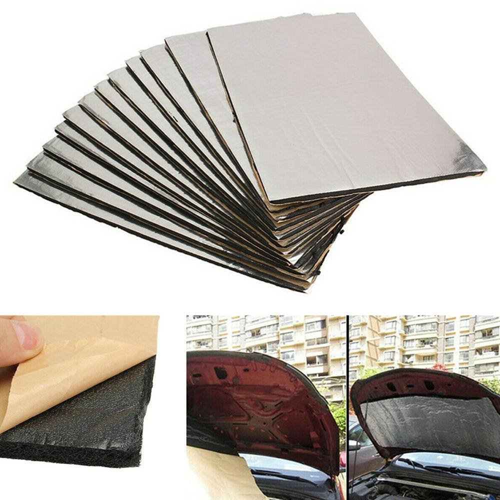 12pcs Foil Soundproof Cotton Car Sound Mat Proofing Deadener Heat Noise Insulation Deadening Mat Hood Closed Cell Foam
