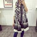 [AETRENDS] Black White Geometric Twill Cotton Feel Scarves Women Pashmina Cape Shawl Z-2325
