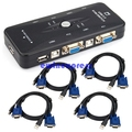 1  X   USB 2.0 KVM Switch 4 Port W 4 Set Cable For Mouse Keyboard Monitor Sharing