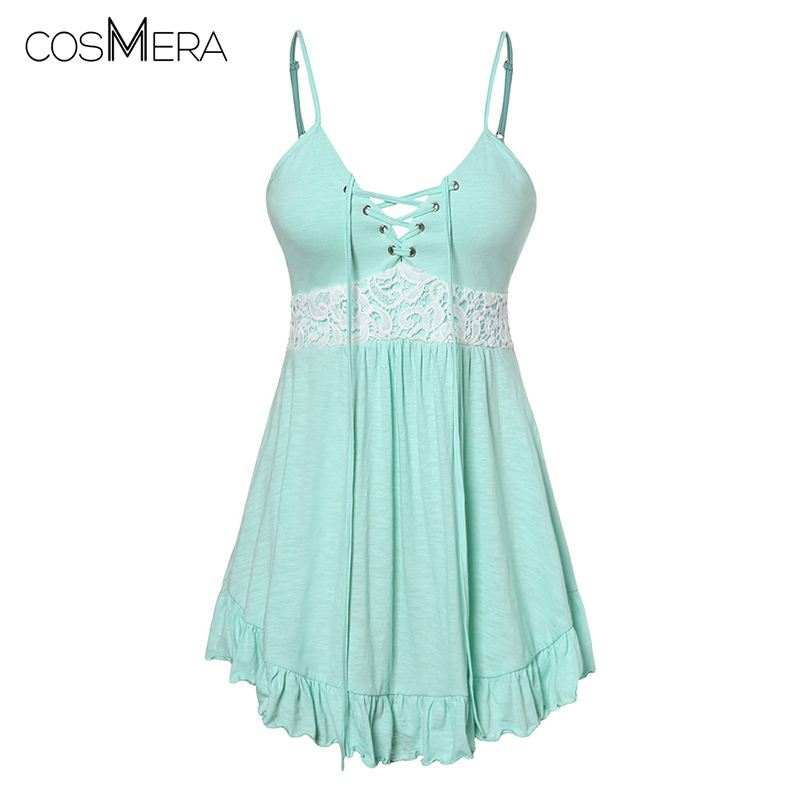 COSMERA Plus Size Camis Lace Panel Womens Top Spaghetti Strap Summer Casual Cotton Cami Tops Sleeveless Women Clothings Big Size