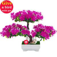 1pc Wine cabinet tree Sakura Emulate Bonsai wedding Decorative Artificial Flowers Fake Pot Plants Ornaments Home Decor