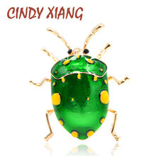 CINDY XIANG New Arrival Green Color Beetle Brooches for Women Fashion Insect Brooch Pin Summer Style T-shirt Accessories Gift(China)