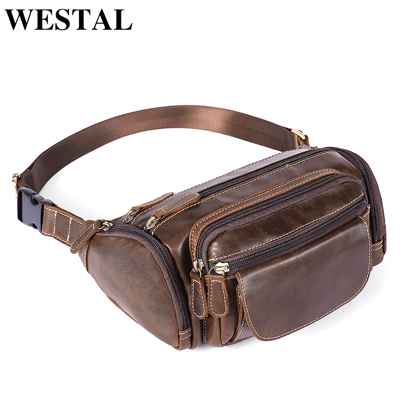 WESTAL Genuine Leather Travel Waist Pack Fanny Pack Men Leather Belt Waist Bags Phone Pack Small Chest Messenger For Man 8355