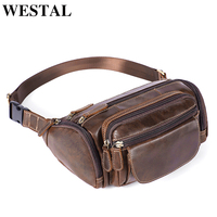 WESTAL genuine leather Travel Waist Pack Fanny Pack men Leather Belt Waist bags phone pouch small chest messenger for man 8355