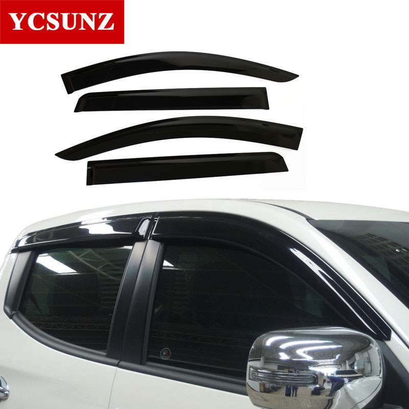 2016-2017 Window Visor For Mitsubishi Pajeo Sport 2017 weather shields Deflectors Guard For mitsubishi montero sport 2018 Ycsunz auto rain shield window visor car window deflector sun visor covers stickers fit for toyota noah voxy 2014 pc 4pcs set