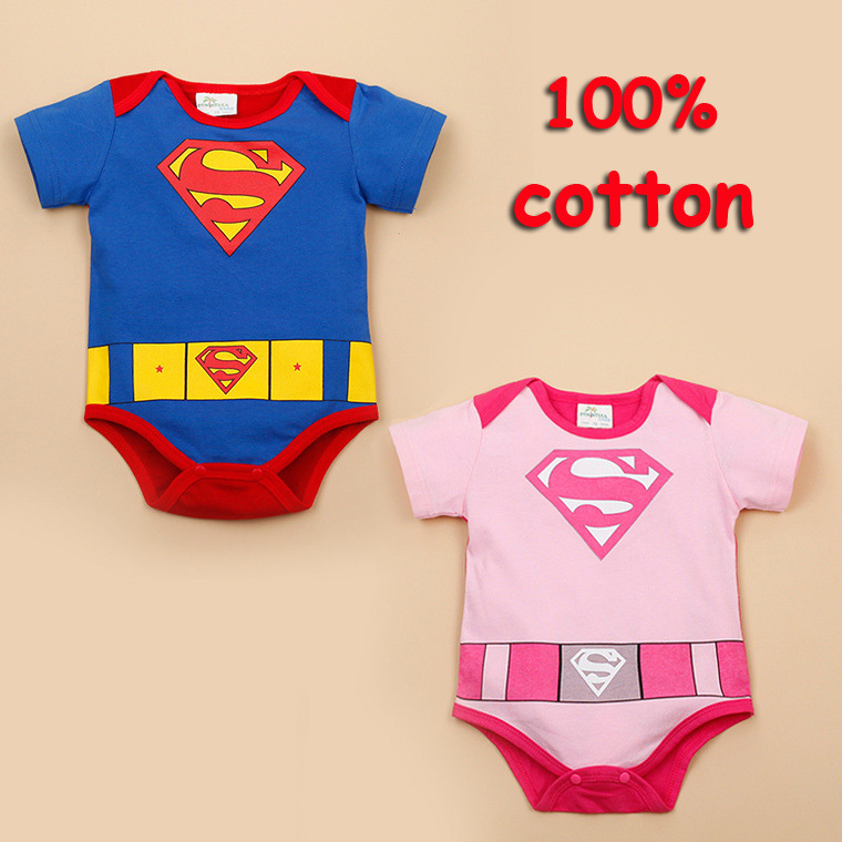 High Quality 100% Cotton Baby Boy Girl Romper Toddler Superman Rompers Newborn Cartoon Clothes Short Sleeve for Summer Bebes 2017 baby girl summer romper newborn baby romper suits infant boy cotton toddler striped clothes baby boy short sleeve jumpsuits