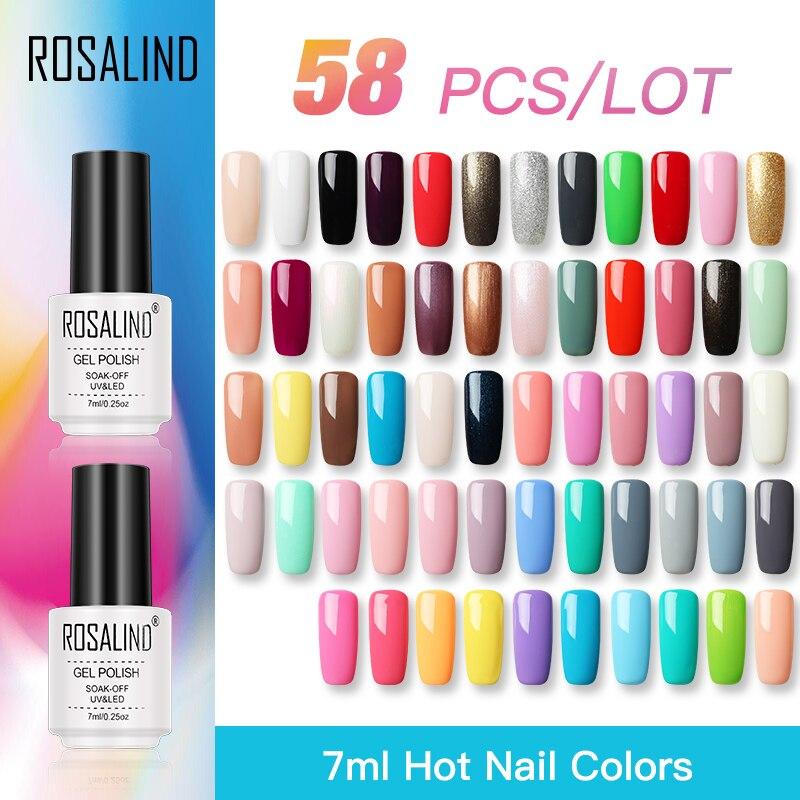 ROSALIND 58 sztuk/partia żel do paznokci zestaw do polerowania dla zestaw do manicure Pure Color Series lampa UV LED lakiery do paznokci przedłużenie paznokci podkład topy w Zestawy i komplety od Uroda i zdrowie na  Grupa 1