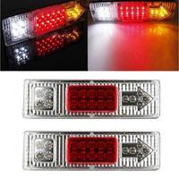 Car Sticker 1 Pair 19 LED Tail Light Car Truck Trailer Stop Rear Reverse Turn Indicator