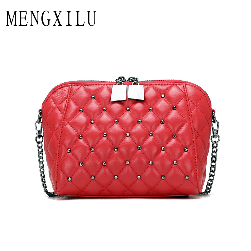 MENGXILU Fashion Genuine Leather Women Messenger Bags Rivets Chain Small Flap Shoulder Bag Solid Color Handbag Bolsas Sac A Main fashion rivets and solid color design women s shoulder bag