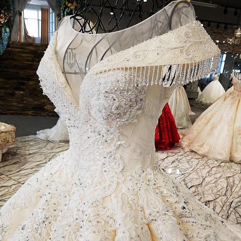 LS34332 2018 свадебный халатРоскошное свадебное платье с длинным поездом в форме кружева с кружевами из слоновой кости и шампанского с длинным поездом