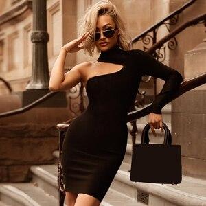 Image 1 - ADYCE 2019 Neue Sommer Frauen Eine Schulter Verband Kleid Berühmtheit Abend Party Kleid Sexy Grün Schwarz Bodycon Club Kleid Vestido
