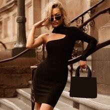 ADYCE 2019 nowe letnie kobiety jedna opaska na ramię sukienka suknie wieczorowe w stylu gwiazd seksowna zielona czarna Bodycon sukienka klubowa Vestido
