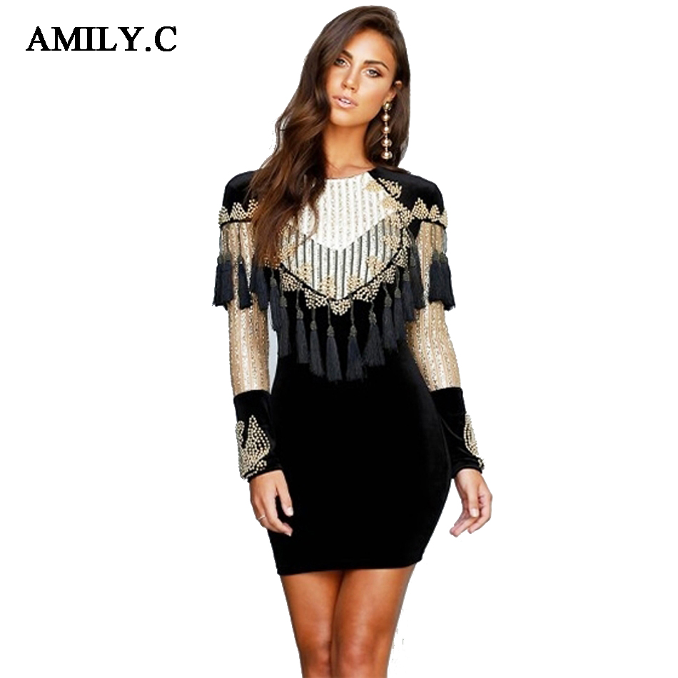 Amily.c 2018 New Summer Women Velvet Dress Gold Black Tassels Sequined Long  Sleeve Mesh 8e553b9a8b52