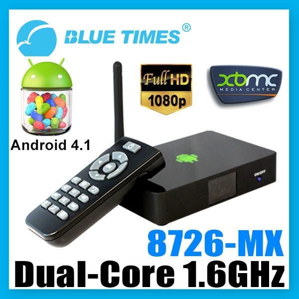 Bluetimes Dual Core Android 4.1 XBMC WiFi 1080p Media Center Player Mini PC TV Box HTPC AMLogic 8726 MX M6 Free Shipping