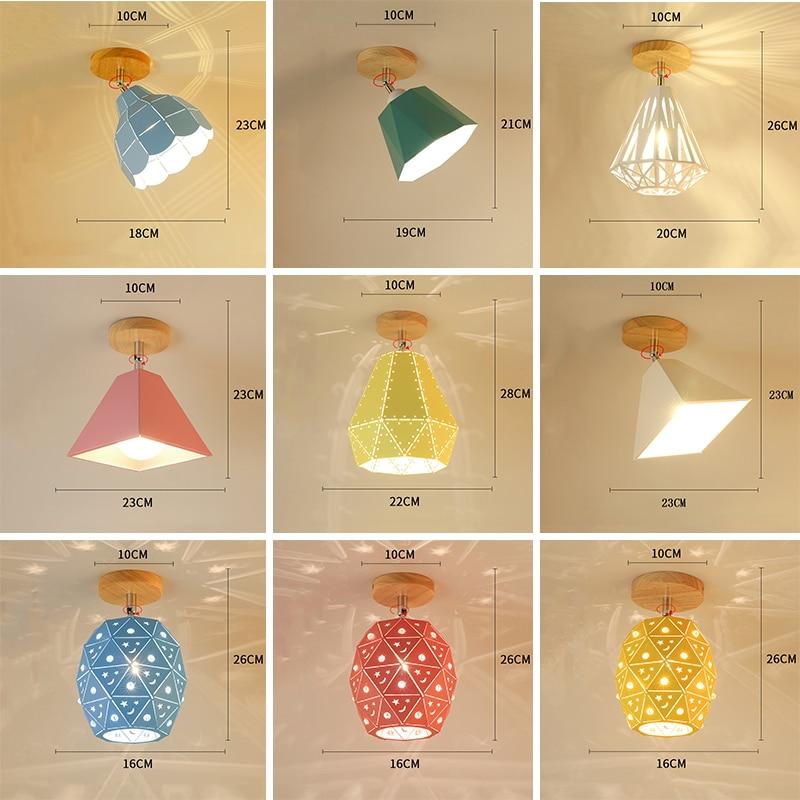 Modern Led Ceiling Light Nordic Flush Mount Lighting Wood Ceiling Lamp For Living Room Foyer Loft Corridor Porch Home Lanterns