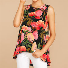 2019 Summer Chiffon Blouse Women Casual Sleeveless O Neck Floral Shirt Tunic Tank Loose Beach Ladies Tops Tee Camisas Mujer S-XL(China)