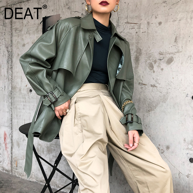 [DEAT] 2020 New Spring Autumn Lapel Long Sleeve Pocket Belt Bandage Loose Personality Leather Jacket Women Coat Tide 10D374