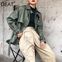 [Deat] 2020 春の新作秋ラペル長袖ポケットベルト包帯ゆるい人格革ジャケットの女性のコート潮 10D374
