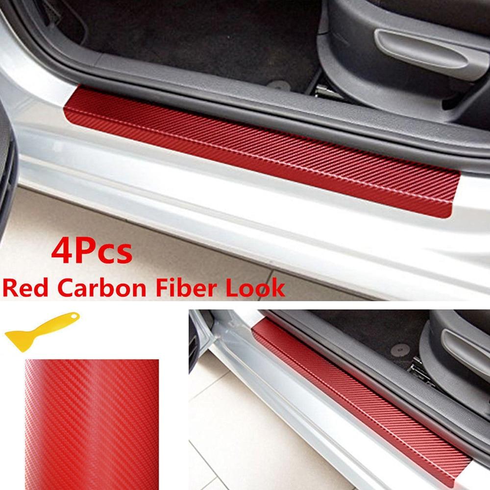 3D Carbon Fiber 4pcs Look Car Door Plate Sill Scuff Cover Sticker Anti Scratch