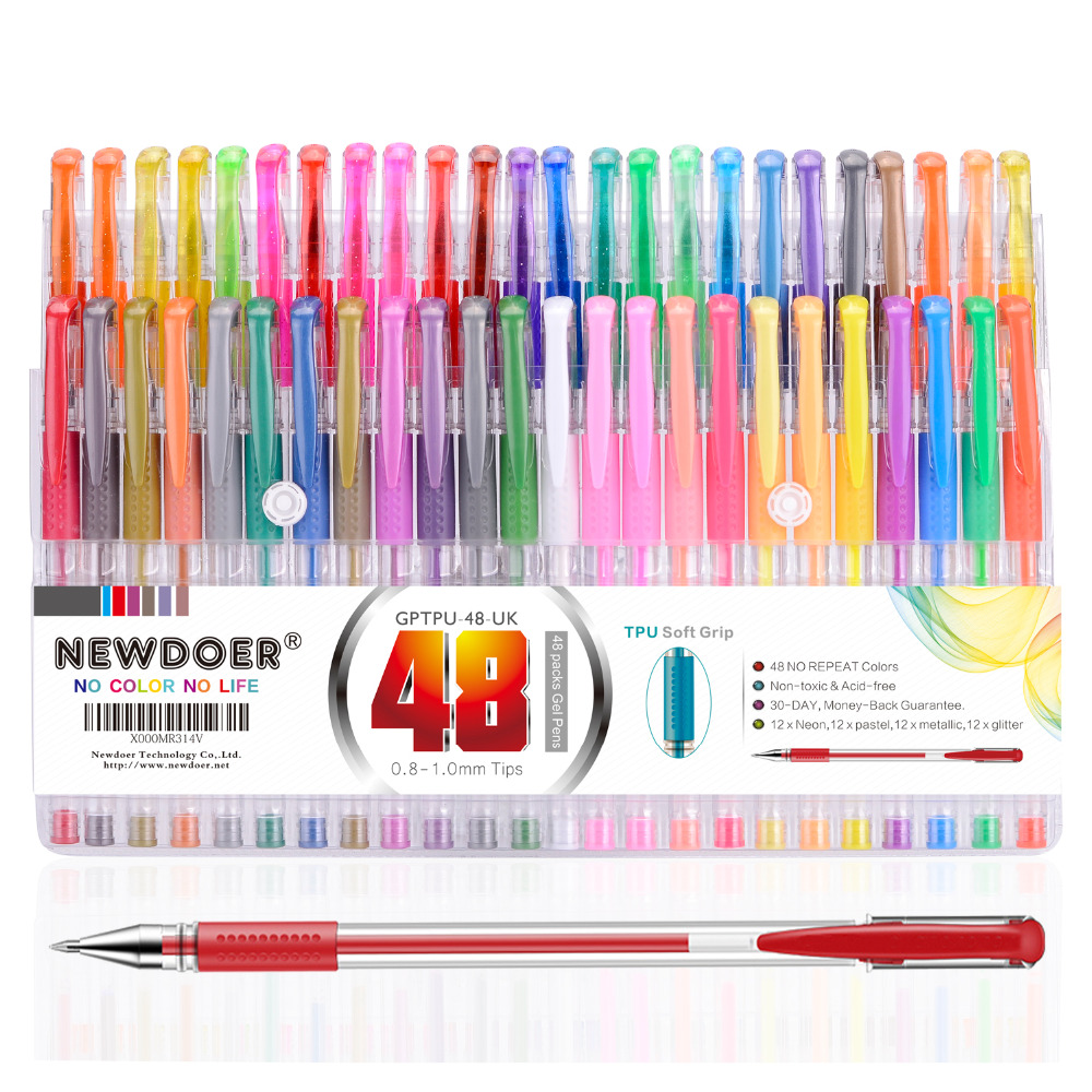 48 Color TPU Grip Unique Colors Gel Pens Mudder Glitter Gel Pens Set for Coloring Book Drawing, Coloring, Doodling and Sketching drawing doodling colouring pirates dinosaurs machines and other things