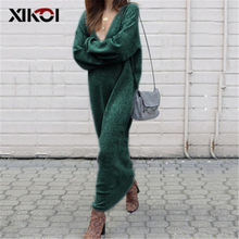 444d947bc15 XIKOI Women Maxi Dress with Long Sleeve V Neck Solid Loose Knitted Sweater  Long Dresses Women Casual Sexy Maxi Dresses Robe Pull