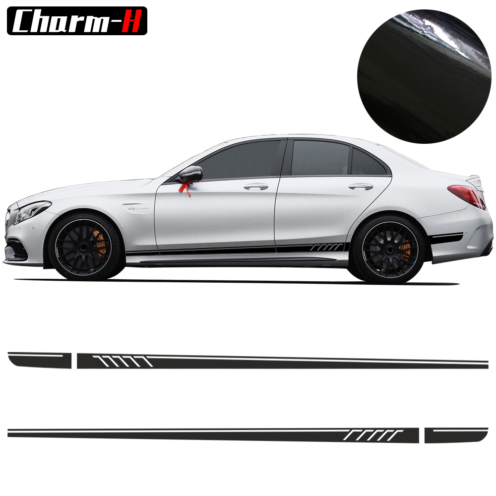 Shkumësa 2 copë / Matte / 5D E zezë AMG Edition C63 507 Stickers Decal Side Stripers For Mercedes Benz C Class W204