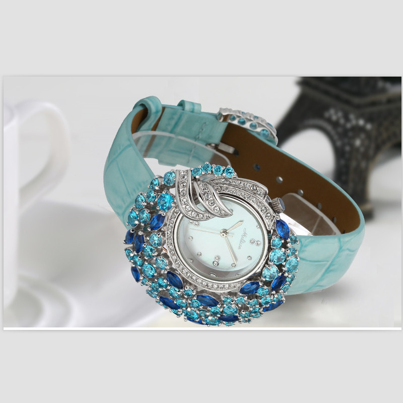 Melissa Luxury Exaggerated Flower Designer Women Rhinestones Watches Fashion Jewelry Watch Quartz Genuine Leather Montre Femme punk jewelry rome scale women watches quartz watch luxury brand genuine leather band bangle montre skull cat zegarki damskie