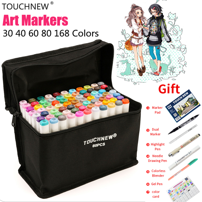 TOUCHNEW 168colors Alcohol Based Markers Set Twin Smooth Ink Sketch Marker Finecolour Dessin Student Color Markers Drawing Pens touchnew 60 colors artist dual head sketch markers for manga marker school drawing marker pen design supplies 5type