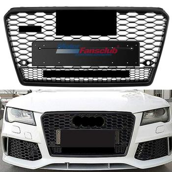 Car Racing Grille For Audi A7 S7 Grill 2011-2015 RS7 Style Quattro Emblem Black Sliver Radiator Chorme Front Upper Bumper Modify Гриль