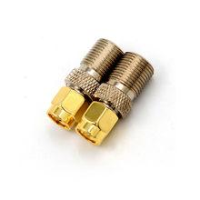 Adaptador f tipo fêmea para sma, plug macho reto de alta qualidade de f, conector para sma, 1 peça tom dourado conversor