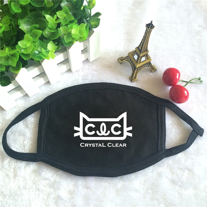 Kpop CLC Crystal Clear Album Logo Print K-pop Fashion Face Masks Unisex Cotton Black Mouth Mask