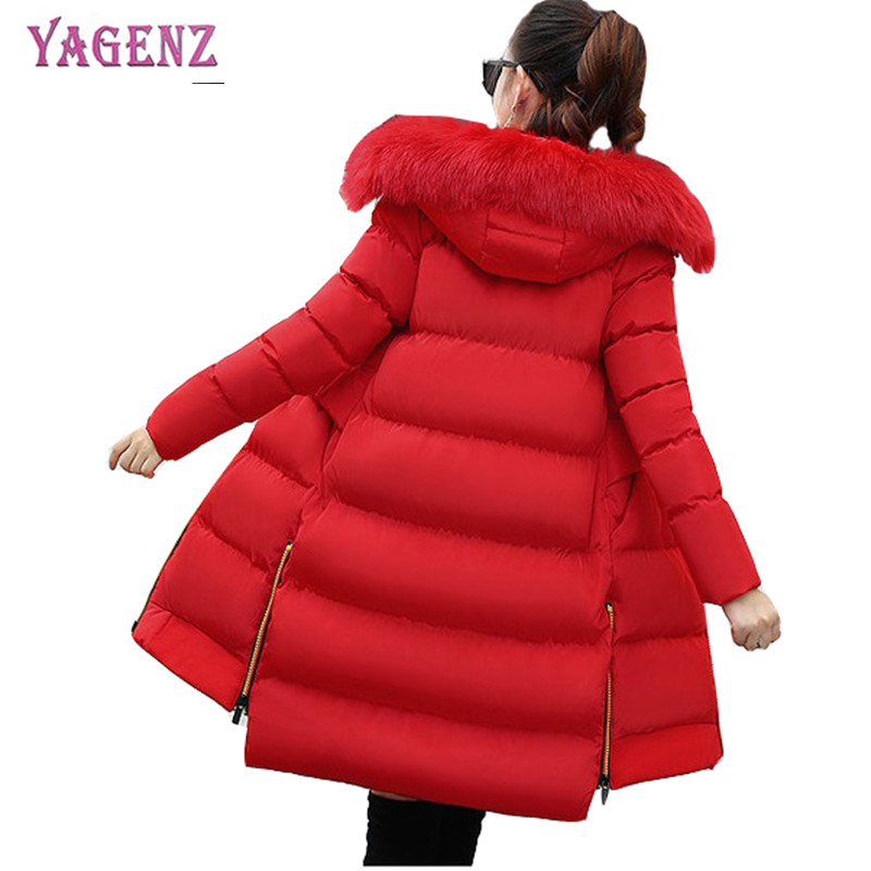 Winter women Long feather cotton jacket 2018 High quality warm cotton outerwear Slim Hooded collar Plus size overcoat 5XL B100 new high quality winter women s feather cotton long style coats fashion hooded imitation fox fur collar plus size coat okxgnz857
