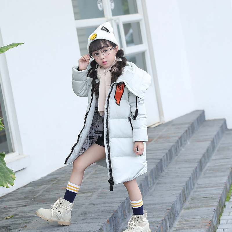 цены на Fashion 6-15Y Girls Winter Light White Duck Down Coat Kids Jacket Hooded Long Children Clothes  Warm Parka Outerwear Snowsuit в интернет-магазинах