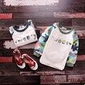 2017 новая весна осень мальчик хлопок Камуфляж принт футболка детская одежда мальчики девочки высокое качество jchao дети тройник 90-140