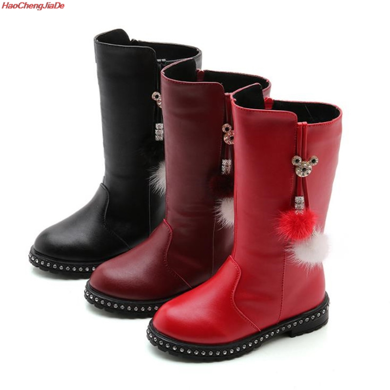 Image 3 - New Thick Winter Kids Combat Boots Girls Boys Plush Boots Girls Autumn High Boots Children Winter Snow Shoes size 27 37-in Boots from Mother & Kids