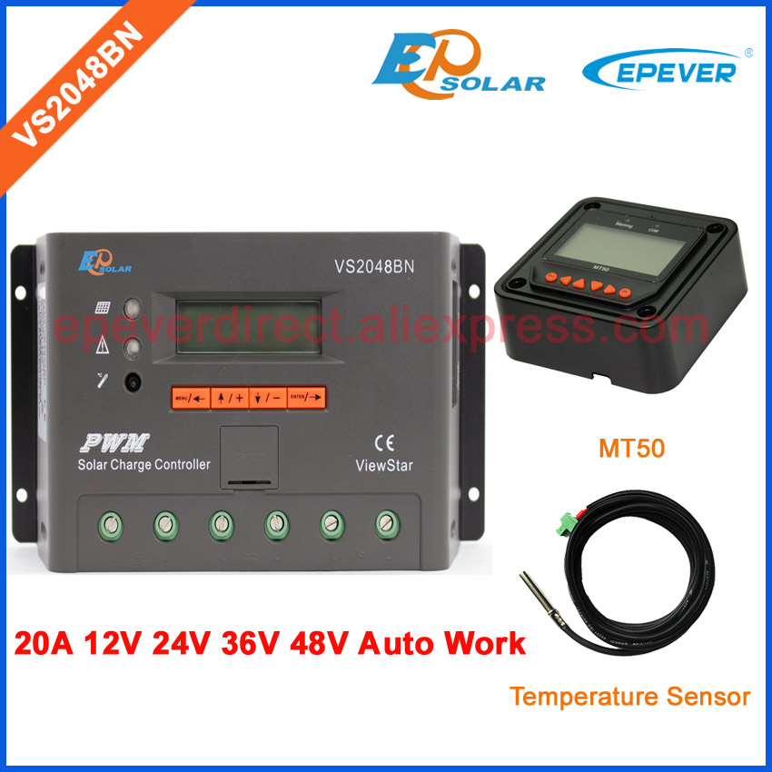 LCD Screen controller solar charger PWM 20A with temperature sensor VS2048BN 36V 12V 48V Auto Work EPEVER MT50 Remote Meter vs6048bn 60a 24 48v auto pwm controller network access computer control can connect with mt50 for communication