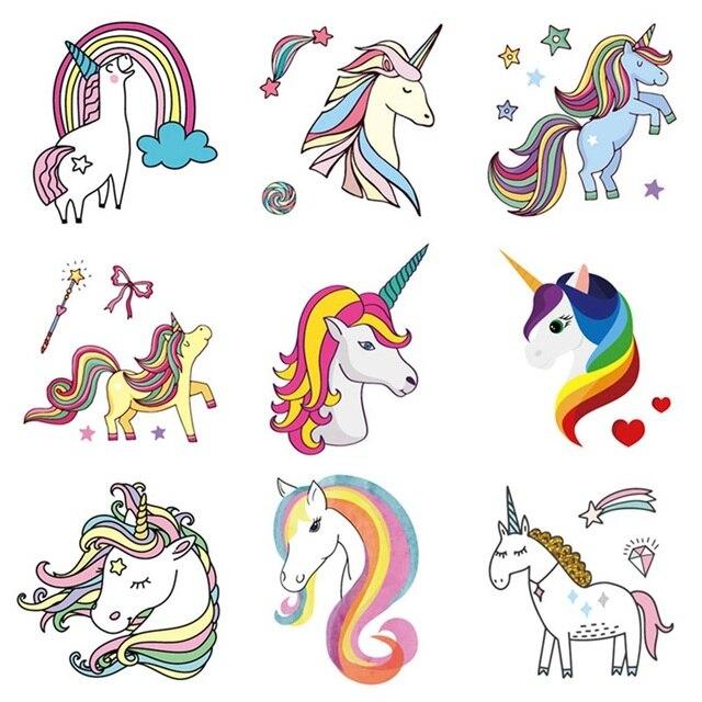 2 unids/set tatuaje de unicornio de dibujos animados para chico lindo tatuaje falso tatuaje temporal para niños