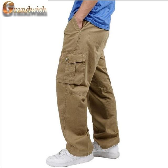 2017 Nuevos Hombres Pantalones De Carga Tamaño 44 Baggy Solid Army pantalones Para Hombre Pantalones Encuadre de cuerpo entero de Los Hombres Rectos Pantalones de Algodón de Trabajo, PA599