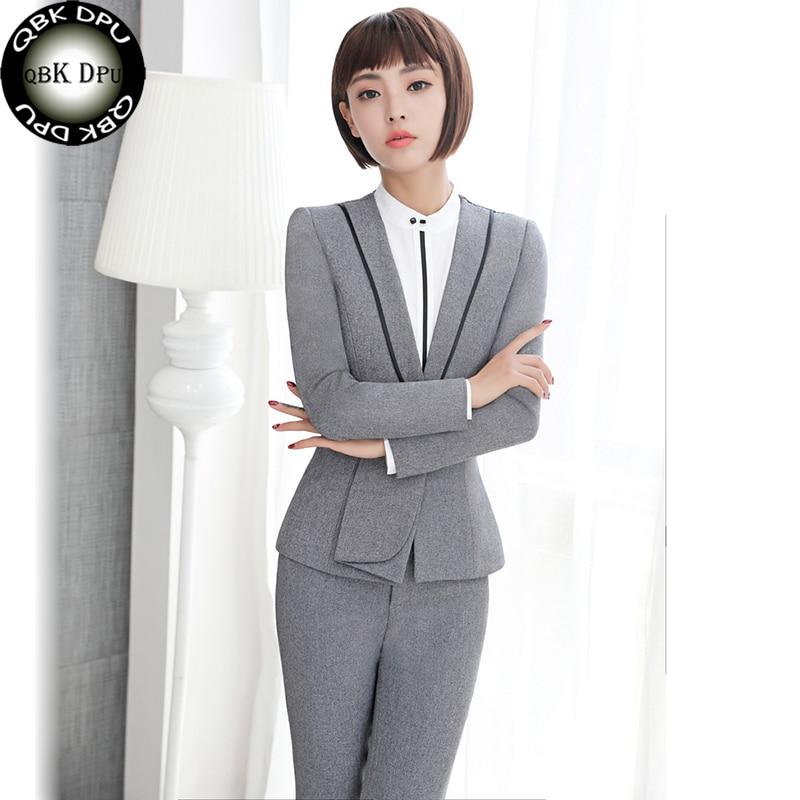 100% Kwaliteit Qbkdpu Formele Professionele Vrouwelijke Pantsuits Jassen En Broek Herfst Winter Office Business 2 Stuk Set Blazers + Broek Past Gebruiksgoederen