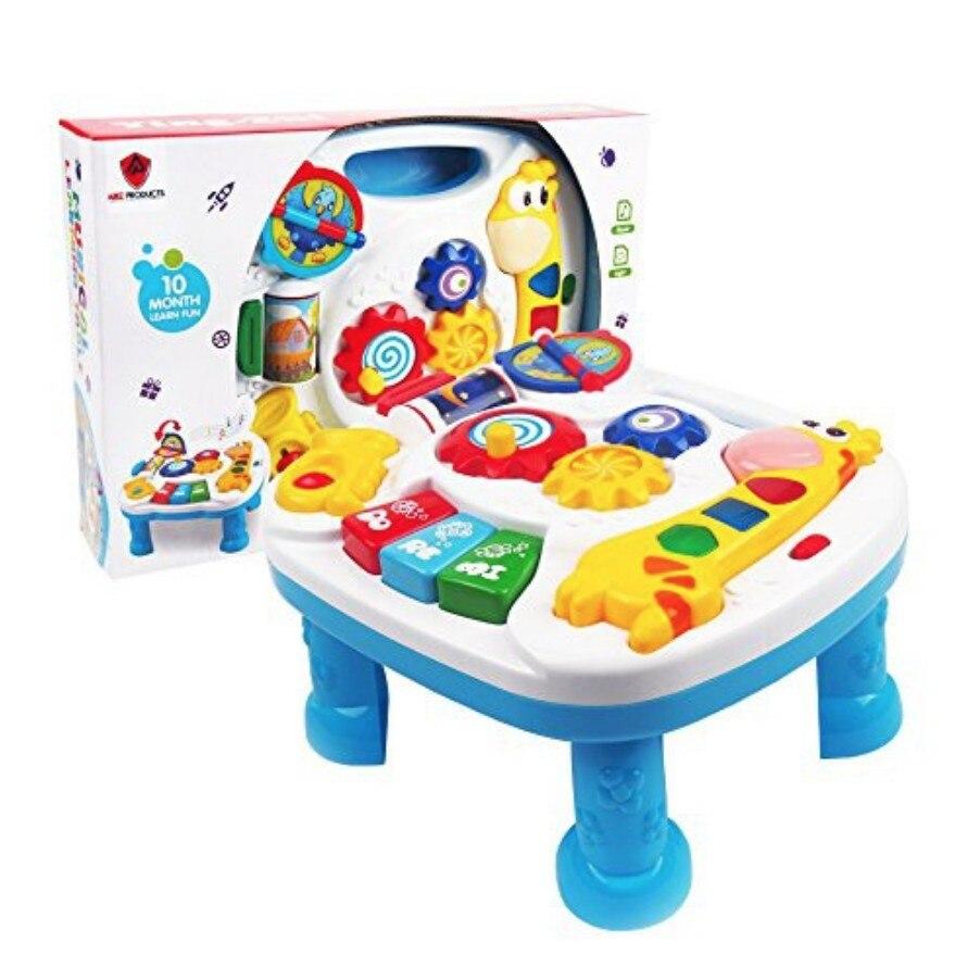 Zhenwei enfants 2 en 1 Musical bébé apprentissage Table apprentissage amusant jouer chanter lumière horloge temps Recongnition jouet