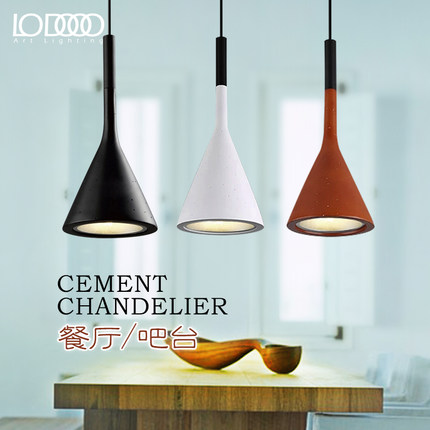 Creative personality simple modern lamps and lanterns American single head imitation cement pendant lamp personality traits and interpretaion