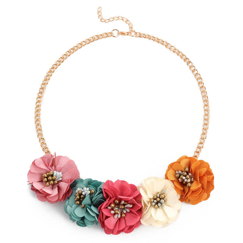 Fashion Necklace Collar Flower Necklaces & Pendants trendy choker chunky Gold chain statement Big Flower necklace summer jewelry