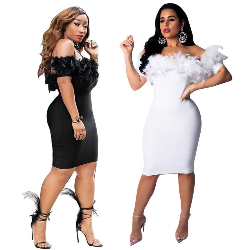 c4ddd998bad2 Echoine Mulheres Sexy Pena Vestido Barra Pescoço Manga Curta Magro Mini  Bodycon Vestidos Plus Size Preto Branco Senhoras Elegantes Vestidos em  Vestidos de ...
