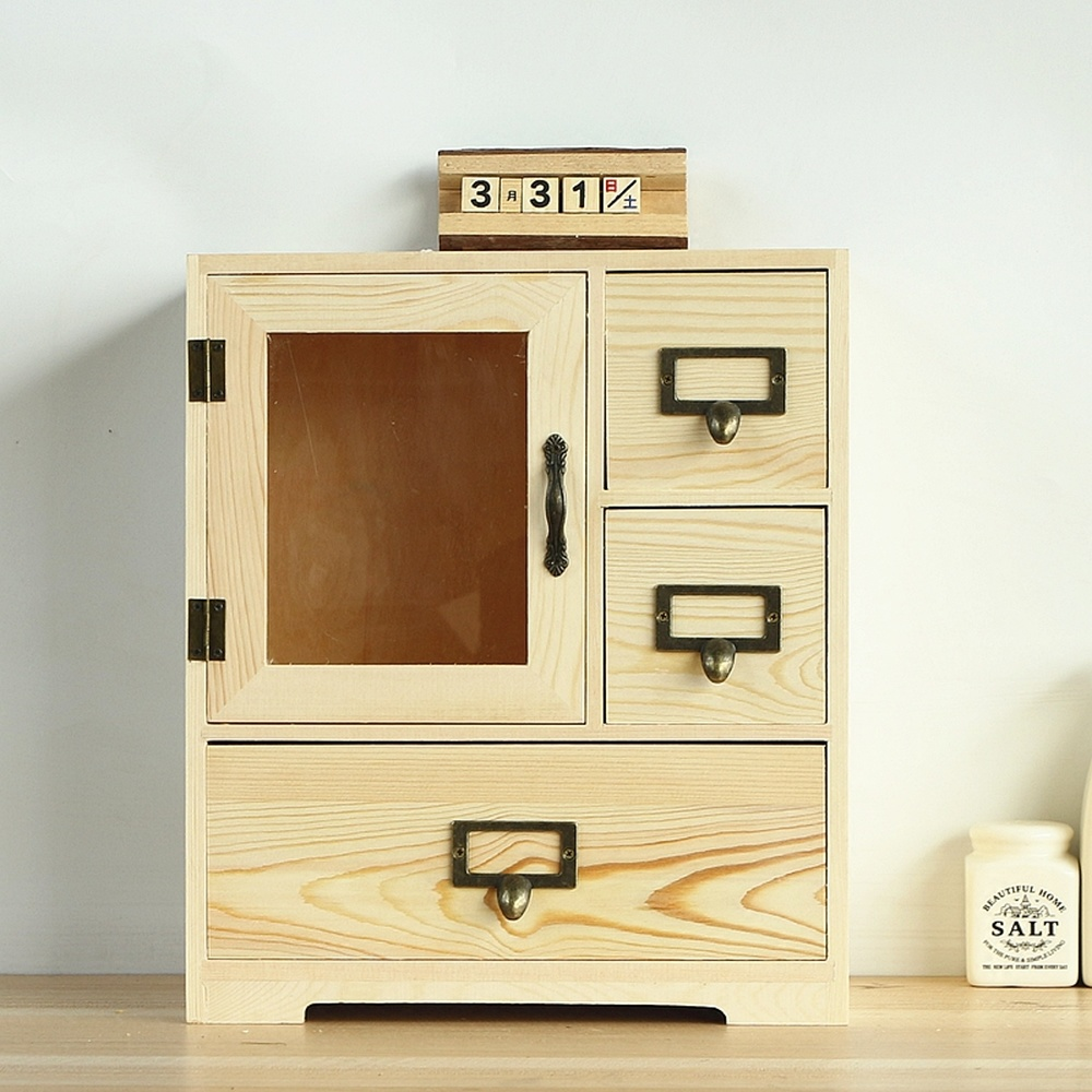 Creative desktop cosmetic storage box solid wood storage cabinet desk drawer storage box rack wx10231630