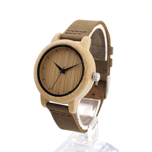BOBO BIRD Handmade Wooden Watch Made with Natural Bamboo Wood in Brown Leather Strap Mens Watches Brand Luxury A15