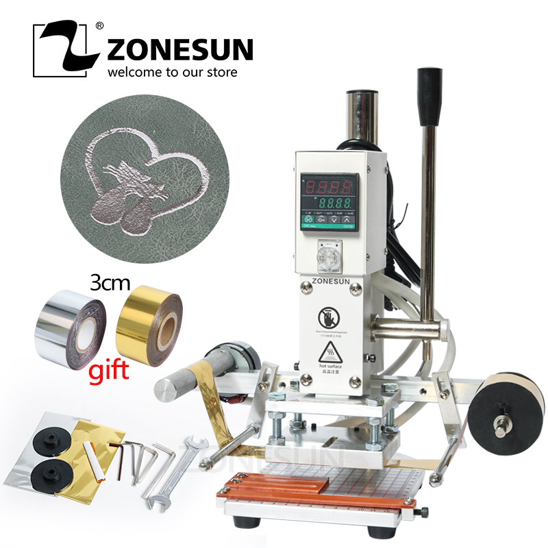 ZONESUN Digital Automatic Leather Hot Foil Stamping Machine Manual Embossing Tool 300W Creasing Wood Paper PVC