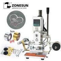ZONESUN Digital Automatic Leather Hot Foil Stamping Machine Manual Embossing Tool 300W Creasing Wood Paper PVC Card Printer DIY