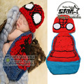 Cute Newborn Costume Baby Woolen Suit Handmade Knitting Clothes Halloween Cosplay Spiderman Costume Baby Birthday Gift